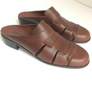 Brown Leather Sandal Sz 9.5 Slip On
